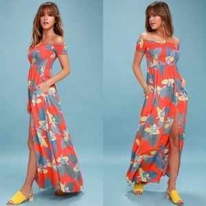 Lulus Patsy Floral Off the Shoulder Maxi Dress